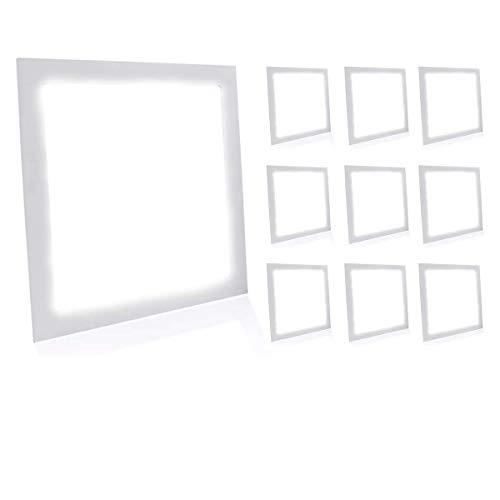 Kit 10 Painel Plafon Luminária Led 12w Quadrado Embutir - Branco Frio Decoração Casa Loja