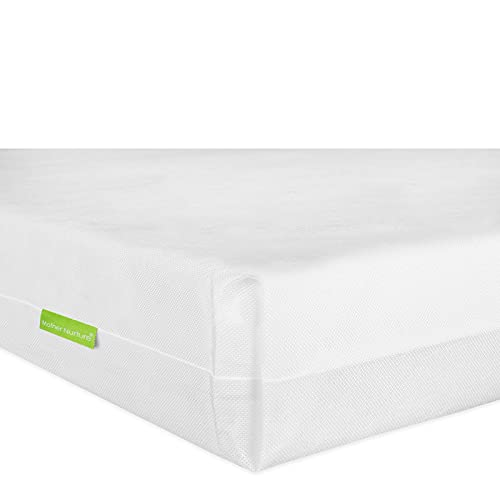 Mother Nurture Essential Foam Travel Cot Mattress, White, 93 x 64 x 6cm