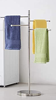 Standing Towel Rack Modern Stainless Steel 4 Swivel Arm Towel Holder Rack with Round Base Freestanding Hand Towel Bar Stand DECLUTTR
