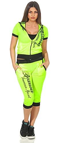 Elo-Style Damen Jogging Anzug Sportanzug Trainingsanzug Trainingsjacke Jogginganzug, 1815 Neon Gelb M