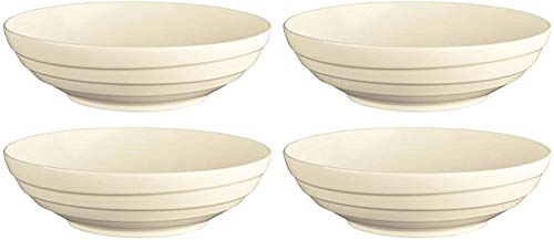 Jamie Oliver Waves 4 grote schalen, rond, fijn gesneden, 24 cm, gebroken wit, van fijn aardewerk