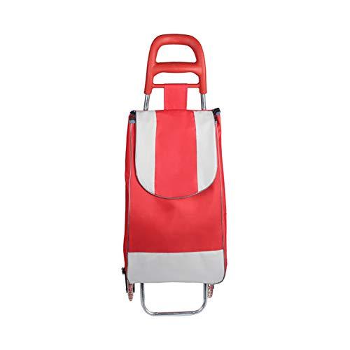 Opvouwbare boodschappentassen Aged Climb Trappen Thuis 6 wielen Draagbare Winkelwagen Kopen Voedsel Bagage Opslag Handwagen stijlnaam size Rood
