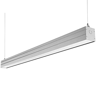 LED Architectural Suspended Linear Channel Light Linkable, 4FT 40W 3000K/4000K/5000K CCT Selectable, Dimmable Office Lighting Fixture for Commercial Places, 4600lm, ETL, 1 Pack