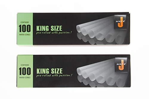 Jware Konisch Hülsen 2x 100 Stück aus natürlichem Hanfpapier vorgedrehte Joint Hülsen 109mm vorgerollte Joint Cones