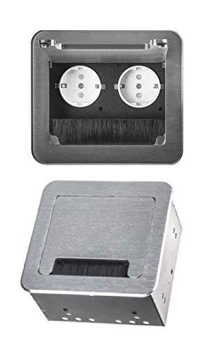 M61 - Einbausteckdose in verschiedenen Farben - wahlweise mit oder ohne Internetanschluss (2er silber)