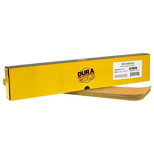 Dura-Gold Premium – 220 Hojas de Longboard precortadas de 5,7 cm de Ancho por 40,6 cm de Largo – Psa Autoadhesivo de Papel de Lija – Caja de 25 Hojas de Acabado de Papel de Lija