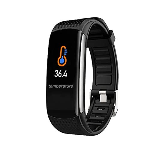 AKL Nuevo Reloj De Pulsera Inteligente De Temperatura Corporal C6T IP67 Impermeable Monitor De Ritmo Cardíaco Smartband Pulsera Fitness Tracker,E