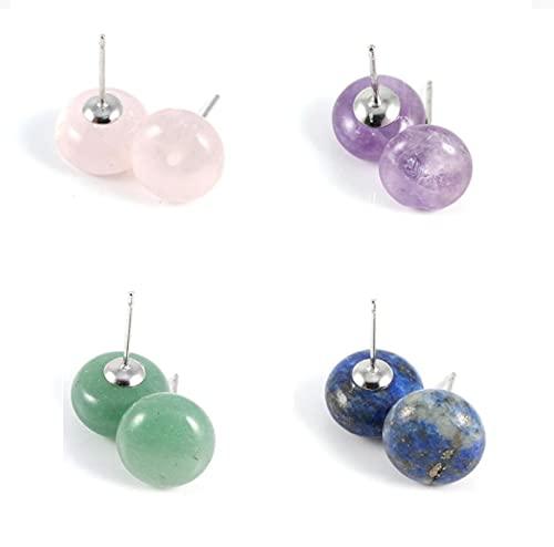 Pendientes de botón oblato de piedra natural, para mujer Amatista / Cuarzo rosa / Pendientes semipreciosos de aventurina verde, Pendiente para niñas Regalo de joyería con piedras preciosas (4 pairs)