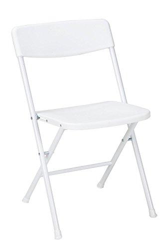 COSCO Resin 4 sillas Plegables con Respaldo Moldeado y Asiento, Blanco