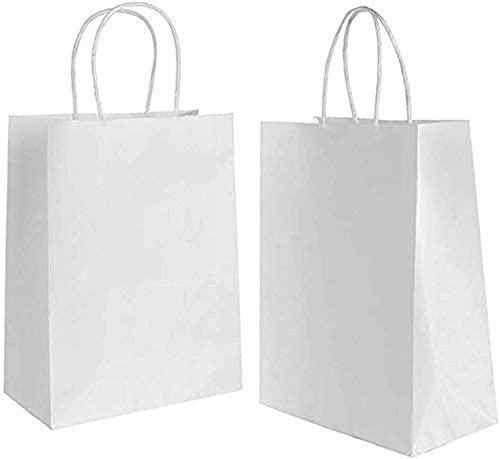 20 piezas Bolsas de Papel Blanco 27 * 21 * 11CM,Bolsas de Papel con Asas,Bolsas Papel Kraft,Bolsas Papel,Bolsas Regalo(Espesar 130gsm)