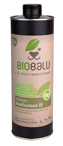 Biobalu Bio Hanföl | Kaltgepresstes Bio Hanföl als Ergänzungsfuttermittel für Hunde, Pferde und Katzen | Barf Öl zur Unterstützung der Blutfettregulation und des Stoffwechsels