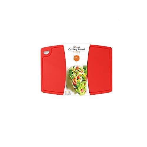 liflicon Tagliere in Silicone Ecologico Antibatterico Anallergico Alta qualità Senza BPA con Scanalatura Anti Sporco Certificato LFGB e FDA (Rosso, S)