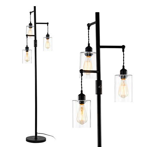 Rayofly Lámpara de pie industrial retro con 3 pantallas de cristal transparente, altura de 163 cm, lámpara de lectura para oficina, salón, dormitorio, E27, color negro