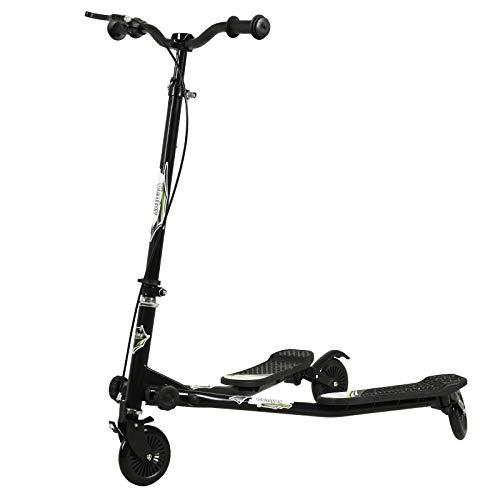 Uenjoy Patinete infantil oscilante de 3 ruedas, plegable, en Y, Wiggle, de 3 niveles, altura ajustable, para niños a partir de 5 años, niñas y adultos, color negro