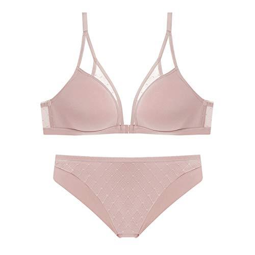 Bralette triángulo para mujer, sujetador y bragas sexys sin alambre, 2 piezas, soporte cómodo para cuello en V profundo (color rosa, tamaño: 75 A)