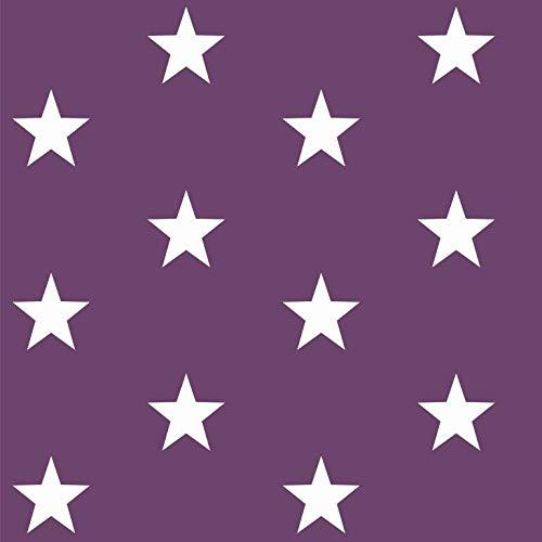 babrause® Baumwollstoff Sterne Violett Webware Meterware Popeline OEKOTEX 150cm breit - Ab 0,5 Meter