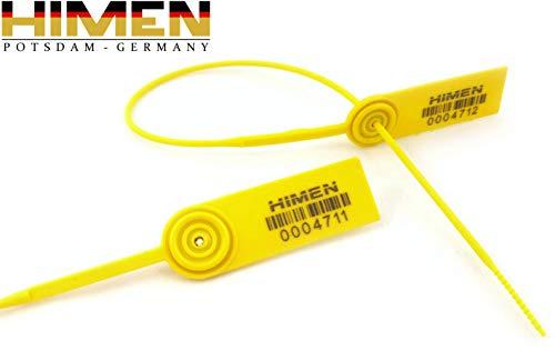 100x PLOMBEN aus Kunststoff mit Metall-Inlay von HIMEN | fortlaufend nummeriert | mit BARCODE | Länge 330 mm | MPS-330C | Seals | yellow