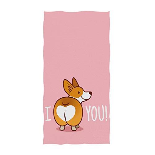 Naanle Cute Funny I Love You Heart Welsh Corgi Dog Valentine's Design Soft Guest Hand Towels...