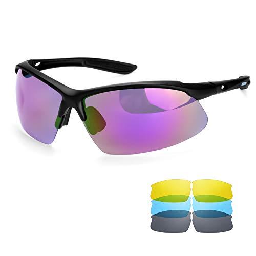 BECOSIM Radsportbrille Polarisierte Sonnenbrille mit austauschbaren Gläsern für Damen und Herren, Luxus-Retro-Sonnenbrille für Laufen, Skifahren, Autofahren, Angeln, Wandern, Outdoor-Sportbrillen
