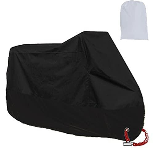 Cubierta para de lluvia motocicleta, poliéster 210D impermeable UV excrementos de pájaros protección interior y exterior, con bolsa de almacenamiento de agujeros de bloqueo (Black, M)