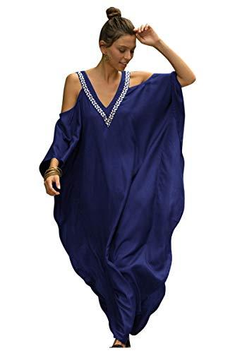 Vestido Bohemia de Playa Estampado Etnico Chiffon Kaftan Kimono Pareos Bikini Cover Ups para Mujer