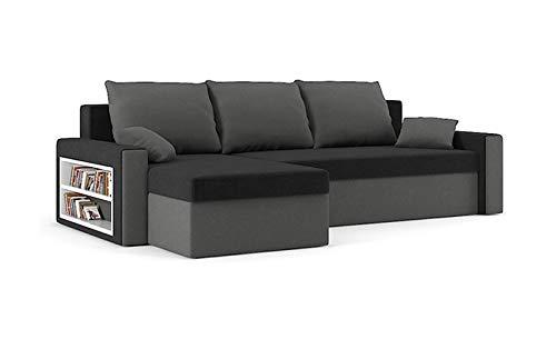 Sofini Ecksofa Drive mit Schlaffunktion! Best Ecksofa! Couch mit Bettkasten und Regalfächer! (Haiti 17+ Haiti 14)