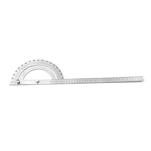 Buscador de ángulo giratorio de cabeza redonda con transportador de 180 grados de acero inoxidable, herramienta de medición, regla recta giratoria con escalas grabadas para dibujo de carpintería(#3)