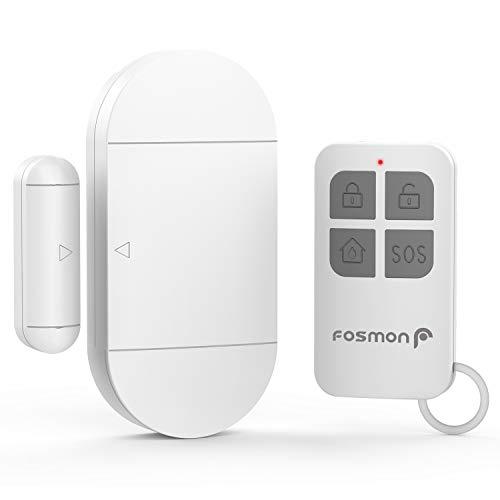 Fosmon Funk Magnet Sicherheit SOS/Notfall Sensor Alarmanlage & Anti-Diebstahl-Alarm-System (130db Super Laut)[Wireless|Fernbedienung|Drahtlos|Batterie]für Fenster/Tür - Weiß