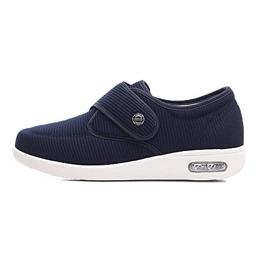 Youyun Womens Diabetic Walking Shoes,Comfort for Seniors Elderly Woman Swollen Feet, Edema BLU 6.5