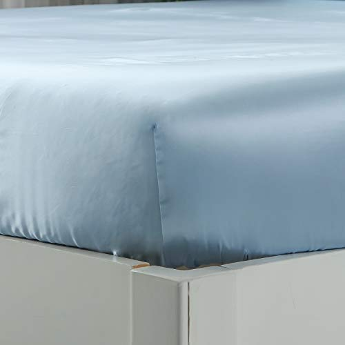 """ZIMASILK 100% Mulberry Silk Fitted Sheet,Seamless with Deep Pocket,Both Sides 19 Momme Silk, 1pc Silk Fitted Sheet Only(King 78''x80''+16"""",Light Blue)"""