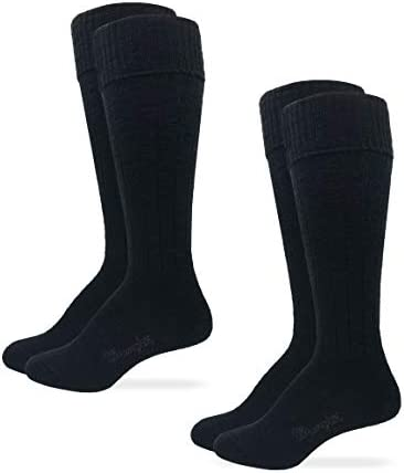 Wrangler Womens Knee High Ribbed Cuff Tall Boot Socks 2 Pair Pack Black Women s Shoe Size 6 product image