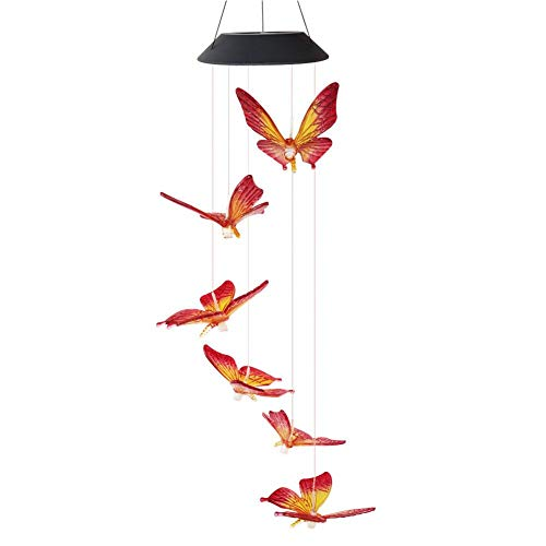 EUBEISAQI Solar Light LED Color Changing Butterfly Wind Chime Hanging Waterproof Outdoor Decorative Romantic Wind Bell Light for Christmas Patio Yard Garden Home Night Light