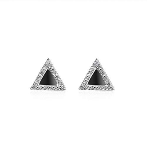 Moda hombre 925 pendientes de plata para mujer joyería cristal negro triángulo chicas pendientes para hombre
