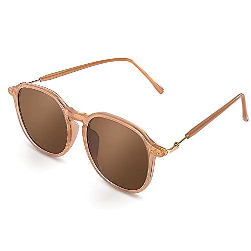 Czemo Gafas de Sol Mujer Polarizadas, Gafas de Sol de Moda Vintage, Protección UV Gafas de Sol Aviador (Brown)