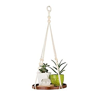 TIMEYARD Macrame Plant Hanger - Indoor Hanging Planter Shelf - Decorative Flower Pot Holder – Boho Bohemian Home Decor, in Box, for Succulents, Cacti, Herbs, Small Plants