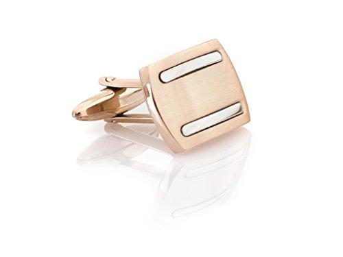 MR CO Manschettenknöpfe Rotgold und Silber Streifen aus Edelstahl inkl. hochwertiger Geschenkbox EMN120