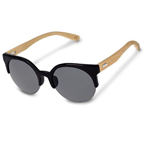 Navaris gafas de sol UV400 - Gafas de madera para hombre y mujer - Gafas de sol de bambú con cristales de distintos colores - Color gris