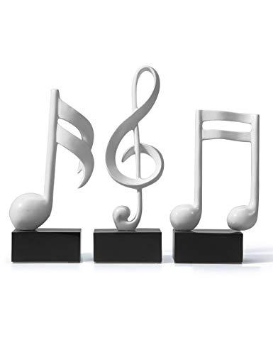 Amoy-Art 3 STK Musik Dekor Skulptur Figuren Musiknote Statue Modern Arts Klavier Geburtstag Geschenk für Haus Kinder Resin Weiß 19cmH