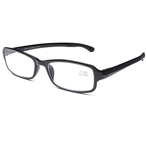DOOVIC Blaulichtfilter Lesebrille Flexible Schwarze Computer Brille mit Stärke Eckig Vollrand Blaufilter Lesehilfe für Damen Herren 2,5