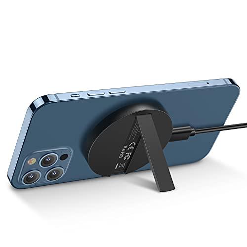 ESR HaloLock Magnetisch Wireless Charger mit Ständer, MagSafe Ladegerät kompatibel Schnelle Kabelloses Ladestation, für iPhone 12/12 Pro/12 mini/12 Pro Max, Schwarz (ohne Adapter)