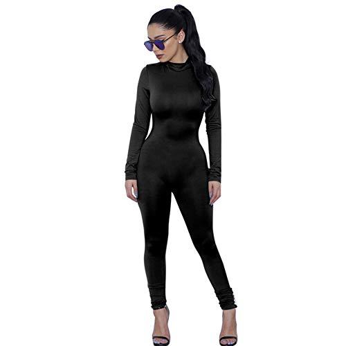 Sijux Frauen Sexy Langärmelige Eng Anliegende Nachtclub Jumpsuit Zurück Reißverschluss Höhe Taille Herbst Bandage Strampler Catsuit Party Clubwear,Black,S
