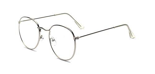ALWAYSUV Modische Runde Silber Rahmen Brillenfassung Klare Linse Brille Nerdbrille