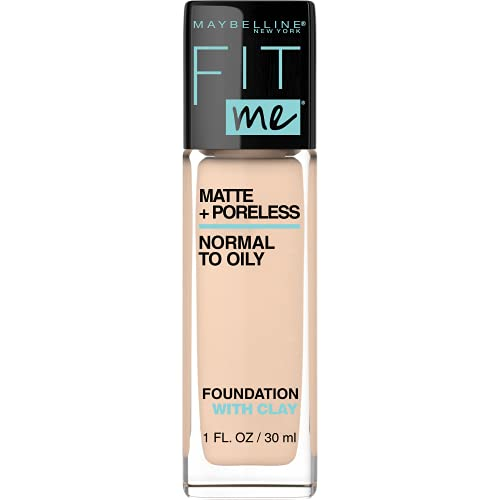 MAYBELLINE Fit Me Matte + Poreless Liquid Foundation Makeup, Ivory, 1 fl; oz; Oil-Free Foundation