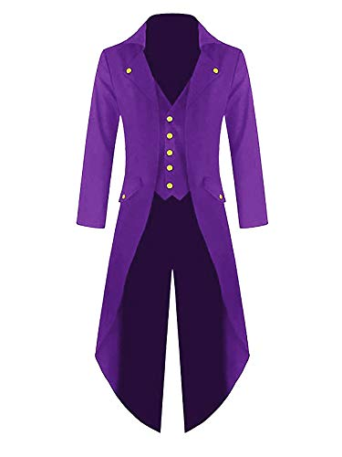 Mens Steampunk Victorian Jacket Gothic Tailcoat Costume Vintage Tuxedo Viking Renaissance Pirate Halloween Coats Purple