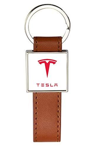 Schlüsselanhänger Stahl / Kunstleder Classic Brown Tesla (2)