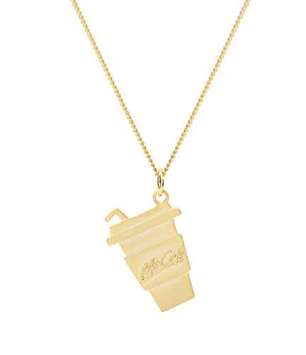 QCYISI Collar Colgante de Plata esterlina S925 para Mujer, Elegante Forma geométrica, Chapado en Oro, Botella de Coca Cola Personalizada Personalizada