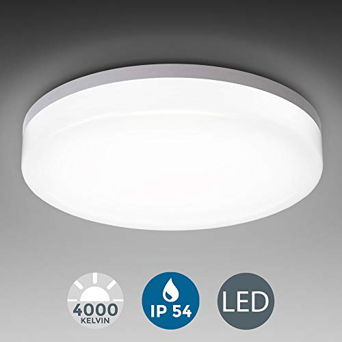 Plafón LED blanco I Panel LED de 18W Lámpara de techo moderna para baño LED Ø280mm IP54 I Plafón I Blanco neutra 4000K I 2400LM