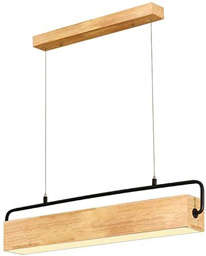 Moderne warme LED hanglamp plafondlamp houten kap zwart ijzer lange hanglamp in hoogte verstelbare kroonluchter voor keuken eiland eettafel bar café kantoor landelijke hanglamp, L78CM