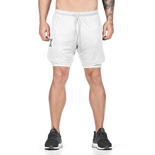 LINNHUE Herren 2 in 1 Shorts Laufshorts Dual Kurze Sporthose Männer Fitness Laufhose Sport Hosen Trainingshose