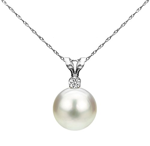 La Regis Jewelry White Saltwater Cultured Japanese Akoya Pearl Diamond Pendant Necklace 14K White Gold 1/100 CTTW Valentines Day